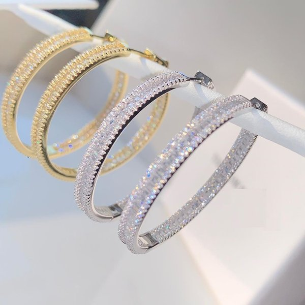best selling 45MM Luxury Iced Out Bling Jewelry Full Round Baguette CZ Cubic Zirconia Gorgeous Fashion Bling Huggie Hoop Earring Wholesale 2021