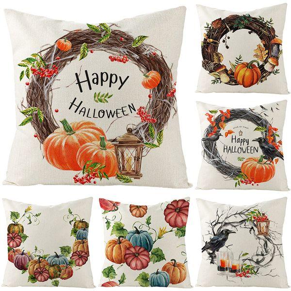 top popular Cover Halloween Linen Pillow 2020 New Home Sofa Cushion Waist Pillow Cover 2021