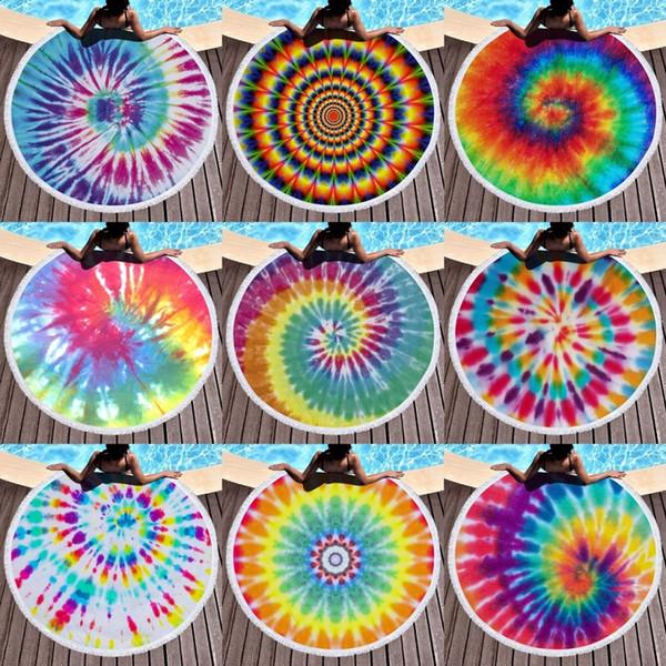 best selling 150*150Cm Polyester Round Beach Towel Rainbow Tie Dye Tassel Beach Towels Lunch Mat Summer Yoga Beach Mat 11 Colors M2866