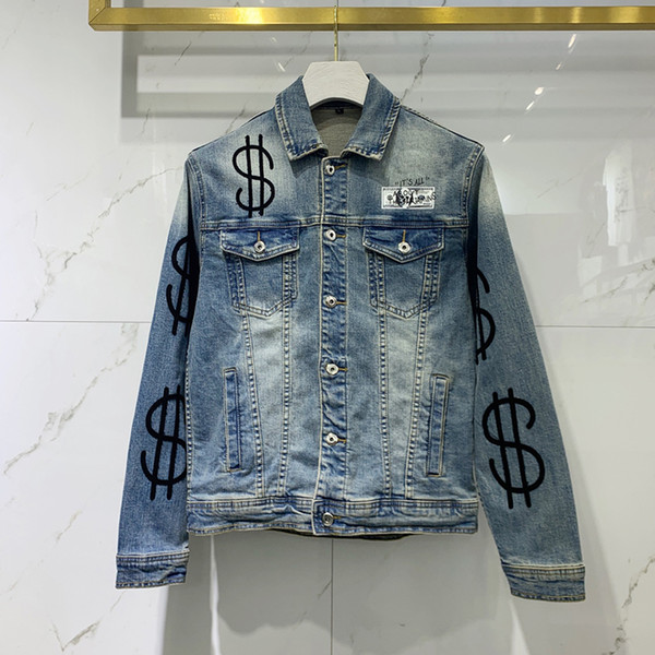 best selling Black Biker Denim Jackets for Mens Slim Fit Short hip hop Casual Motorcycle Blue Casual Coats Embroidered letters Male Tops Fitness clothing
