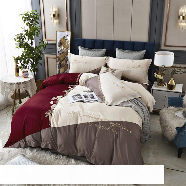 best selling 100 Long-Staple Cotton High-End Embroidery Four-Piece Set 1.8 M Double All Cotton European Entry Lux Wind Embroidery Bedding