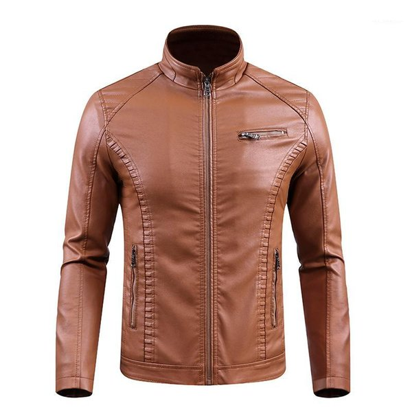 nice new winter men leather jackets motorcycle keep warm leather jackets fashion brand men's fleece jacket coat1, Black;brown