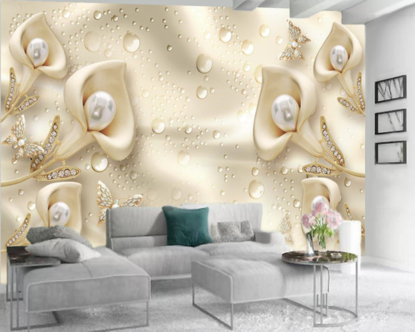 best selling 3d Wallpape Luxury 3d Flower Wallpaper Jewelry Calla Lily Butterfly Living Room Bedroom Background Wall Decoration 3d Mural Wallpaper