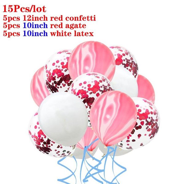 15pcs white red
