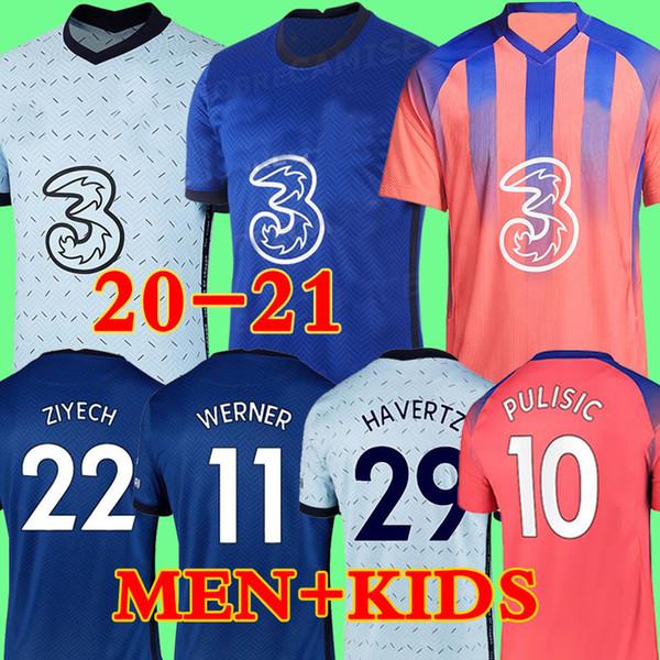 top popular Thailand 20 21 ABRAHAM WERNER HAVERTZ CHILWELL ZIYECH Soccer Jerseys 2020 2021 PULISIC Football Shirt KANTE MOUNT Men Kids sets Kits tops 2020