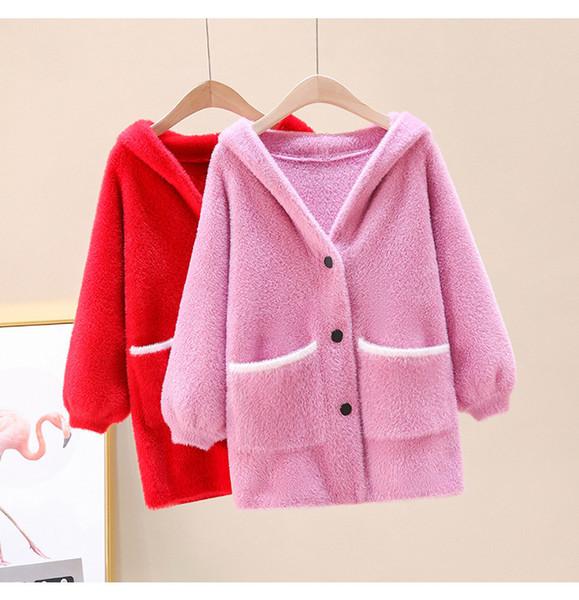 best selling School Girl's Windbreaker Jackets Long Mink Sweater Cardigan Autumn Winter Thickened Hooded Knitwear Trench Coat Teen Clothing 9 C1103
