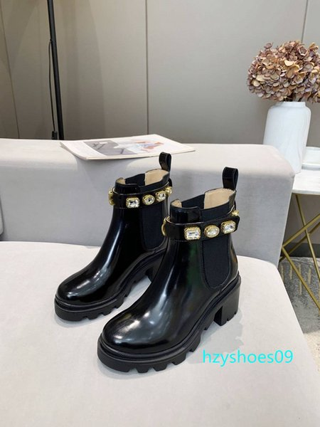 top popular New Arrival Brand Women Boot Luxury Designer Rhinestone Martin boots Sexy Thick Heel Desert Platform Boot Bee Star Leatherwear Winter Shoes 2021