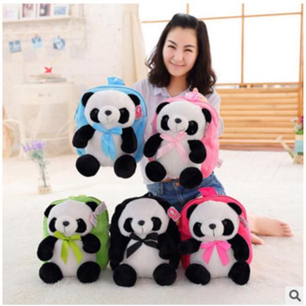 top popular Plush children's Bag Panda Backpack Kid Girl Cartoon Birthday Gift Plush Panda children's Bag School Backpack1 2021
