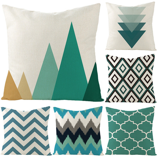 top popular Linen Geometric Pillow Cover Classic Simple Office Cushion Waist Pillow Cover 2021