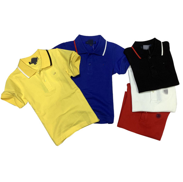 top popular Kids Boys Polo Shirts Striped Printed Short Sleeve T-shirts Toddler Baby Lapel Button Tops Teens Boys Casual Clothes 2-8T 06210202 2021