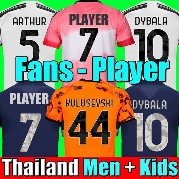 top popular 2020 soccer jersey DYBALA MORATA DE LIGT football shirt 20 21 JUVE Men + Kids kit fourth 4th HUMAN RACE boys sets 2021