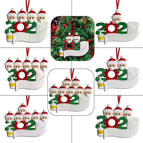 best selling 2020 Christmas Quarantine Ornaments Customized Gift Survivor Family Hang Decoration Snowman Pendant With Face Mask Hand Sanitizer Xmas