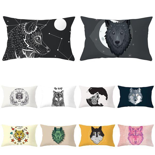 best selling Printing Series Peach Skin Velvet Cartoon Waist Pillow Case Modern Simple Style Sofa Pillow Cover Office Cushion Cover