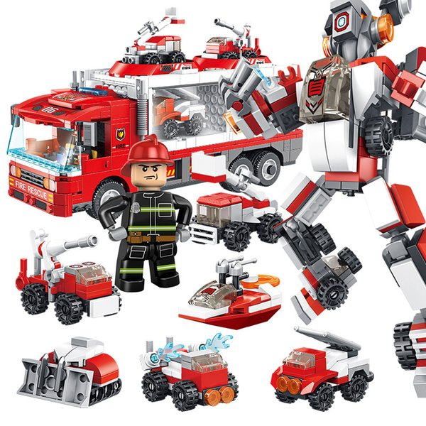 top popular New deformation robot truck fire truck Building block Compatible with ed Assembl DIY Educating Children Toys Christmas Gifts 2020