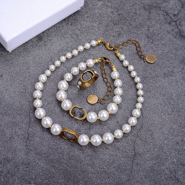 best selling 2021 Hot Sale Beaded Necklaces Fashion Pearl Necklace for Woman Necklaces Jewelry Ring Bracelet Highly Quality Jewelry Rings and Bracelets