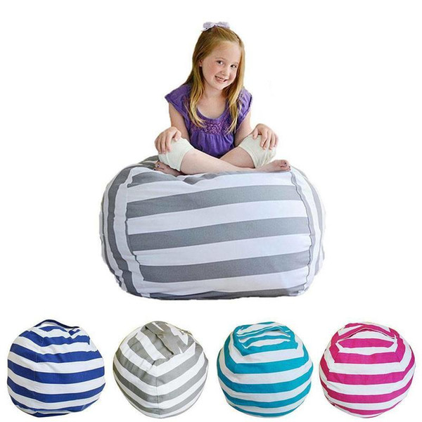 top popular Extra Large Stuffed Kids Animal Striped Printing Toys Storage Bean Bags Cover Zipper Canvas Soft Baby Sofa Seat 2021