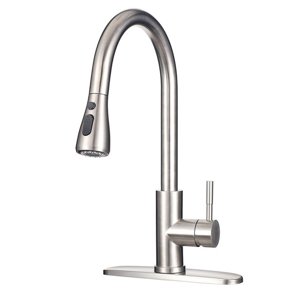 top popular 304 Stainless Steel Brushed Nickel Kitchen Pull Down Faucet with 3 Hole Cover Plate and pull out Spryer 2021