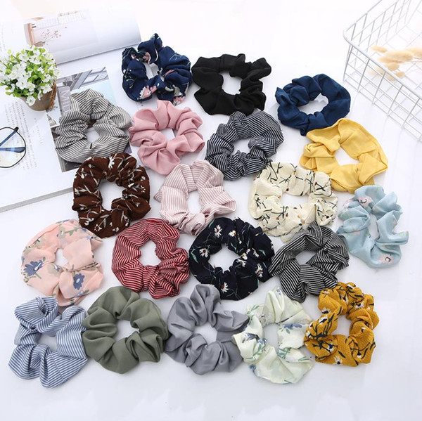 best selling Scrunchies Headwear Large intestine Hair Ties Ropes Elastic Stripe Hairbands Girls Ponytail Holder Trendy Hair Accessories 71 Designs DW2114