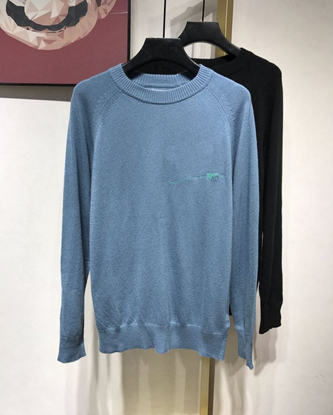 best selling Winter Pullover Knitwear Mens Sweater Knitted Sweater Black Blue Stitching Women Sweaters Mens Sweaters Size XS-XL