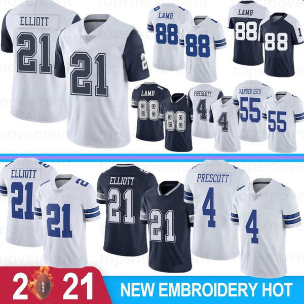 top popular 88 CeeDee Lamb Men Football Jerseys 21 Ezekiel Elliott 4 Dak Prescott Leighton Vander Amari Cooper Staubach Witte Stock S-XXXL 2021 New 2021