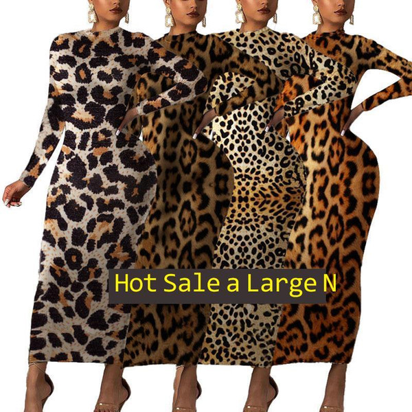 best selling Women's autumn winter round neck long sleeve fashion leopard print dress s-2xl