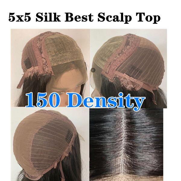 150 densidad 5x5 PU Seda top peluca