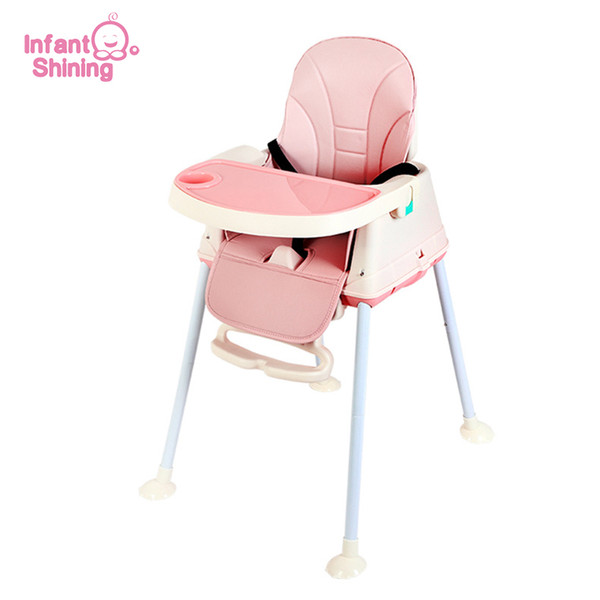 top popular Infant Shining Highchair Dining Chair Feeding Chair Booster Seat with Wheel Feeding Seat Foldable Portable Soft PU Height-adjust LJ201110 2021