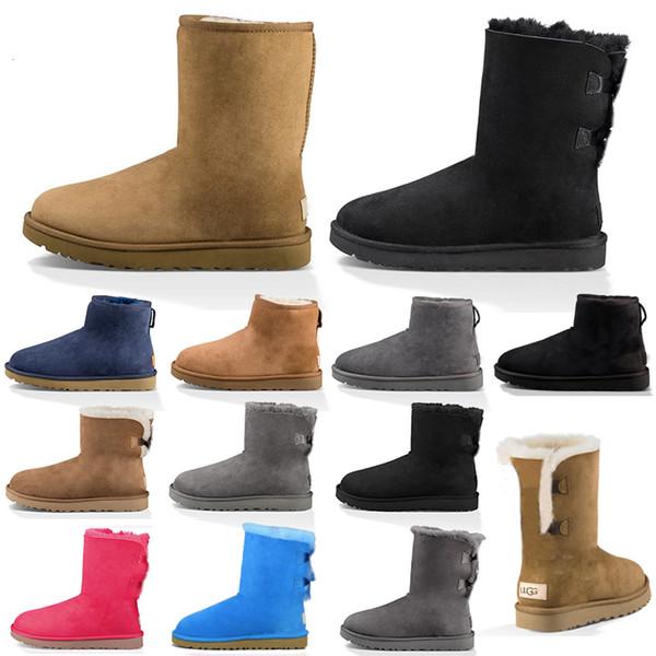 top popular women snow boots fashion winter boot classic mini ankle short ladies girls womens booties triple black chestnut navy blue 2020