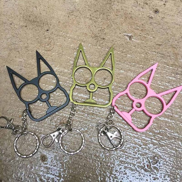 top popular 3 Colors Personalized Classic Cat Shape Self Defense Keychain Self-Defense Tool Cat Head Two-finger Metal Self Defens Weapons Gift 2021