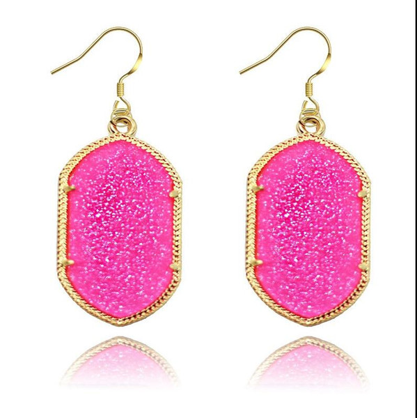 best selling Gold Bezel Kendra Style Signature Earrings Bling Bling Geometry Statement Earrings Fashion Dangle Earrings For Women 8 Colors ps1423