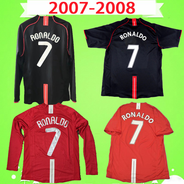 best selling RONALDO Rooney Saha RETRO MANCHESTER 2007 2008 FOOTBALL SHIRTS 07 08 Vintage soccer jerseys classic Nani MAN UTD Camiseta long sleeve