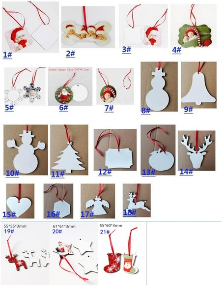 top popular 21 Styles Sublimation Mdf Christmas Ornaments Decorations Round Square Shape Decorations Hot Transfer Printing Blank Consumable FY4266 2020