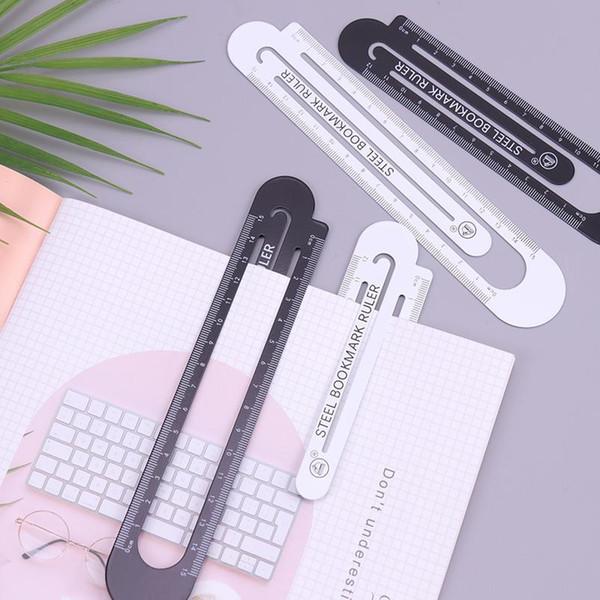 top popular 1pc 12cm15cm High Quality Steel Ruler Metal Ruler Metal Bookmarks School Supplies Drawing Supplies 1pc jllXRj 2021