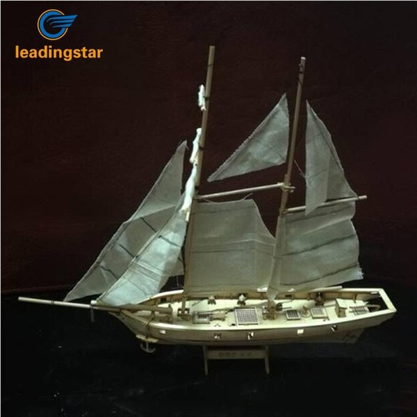 top popular LeadingStar 1:100 Scale Wooden Wood Sailboat Ship Kits Home DIY Model Home Decoration Boat Birthday Gift Toy for Kids Y200428 2021