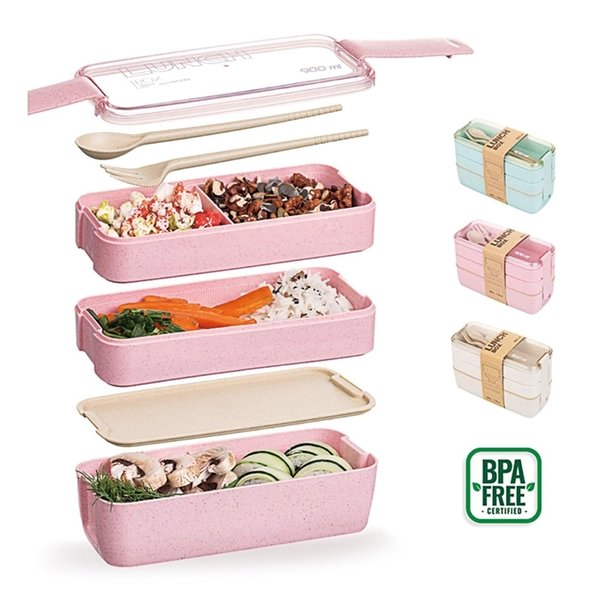 top popular Wheat Straw Lunch Box for Kids Tuppers Food Containers School Camping Supplies Dinnerware Leak-Proof 3 Layer Bento Box Sushi 201210 2021