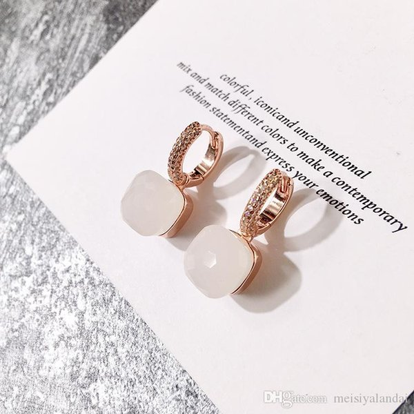 best selling designer jewelry women hoop earrings hot color stone micro inlaid candy color square stone crystal earrings diamond earrings