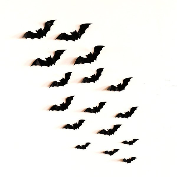 12 schwarze Fledermaus Aufkleber