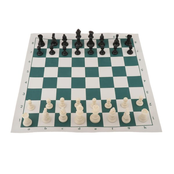 top popular Folding Chess Set, 45x9cm Portable Travelling Chess Game Board Set, Chess Pieces with Cylinder Storage Bag, Perfect Kids Beginners and 2021