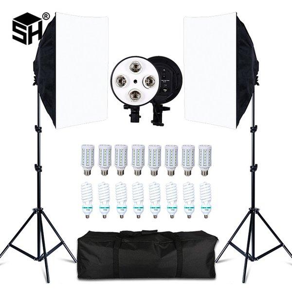 Студия Аксессуары Фотостудия 8 LED 20W Softbox Kit Фотографический Освещение Комплект Камера Фото Аксессуары 2 Света Стенд 2 Softbox