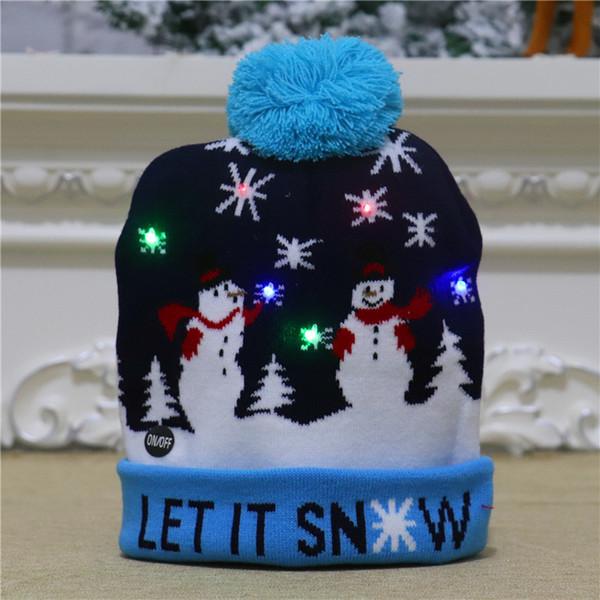 针织 帽 【】 天蓝 雪人