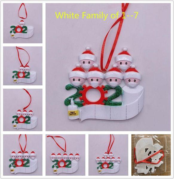 top popular Fedex 2020 Quarantine Christmas ornament White Family of 1-7 Decoration DIY Name Hard Resin Christmas Tree Decors Pandemic Social Distancing 2021