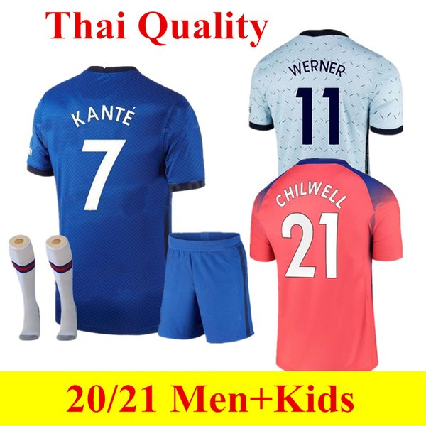 top popular Men + KIDS KIT PULISIC ZIYECH Soccer Jerseys 2020 2021 Thai Quality ABRAHAM KANTE jersey HAVERTZ Football kit shirts SWERNER MOUNT HOME AWAY 2021