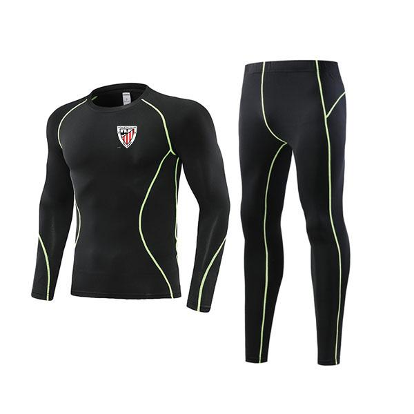 top popular Newest Athletic Bilbao Tight Soccer Outdoor Tracksuits Kids Clothing Size22 Men's Athletic Sets Adult Football Warm Suit Size L 2021
