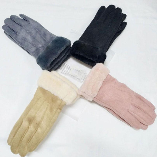 top popular Fashion Women Winter Finger Gloves Touch Screen Gloves Thicken Ski Feather Gloves Solid Color Warm Soft 4 Colors DHL Shipping 2021