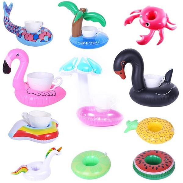 Cheap Swimming Rings Inflatable Cup Holder Unicorn Flamingo Drink Holder Swimming Pool Float Bathing Pool Toy Party Decoration Bar Coasters