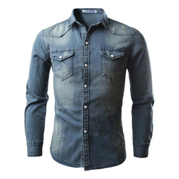 Men's Trendy Shirts Double Pocket Men Casual Long Sleeve Denim Shirt Four Colors Casual Comfortable Mens Clothing Hot Sale 2020 new arrival, we are the factory with the lowest price in the site.Welcome wholesalers to purchase, we will provide more discounts!Pls read the size chart carefully,if any quality problem u can ask for after-sales customer service!