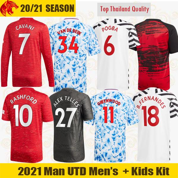 top popular 20 21 VAN DE BEEK Soccer Jerseys Fans Player Version CAVANI FERNANDES Football Shirt 4th human race Man UTD Long Jersey Kids Kit 2021