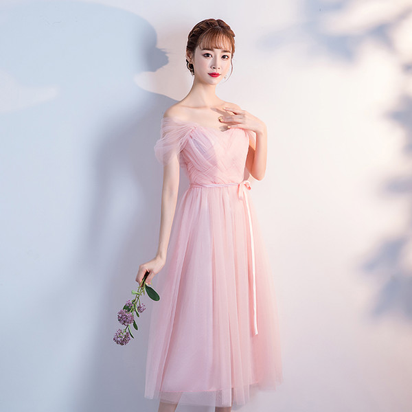 High Quality Tea-length Medium Women Summer Party Long A-line Chiffon Tulle Elegant Pink Cocktail Dresses Cocktail Dress Party