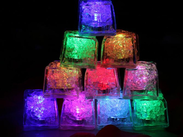 best selling New Arrive Xmas Gift Romantic LED Ice Cubes Fast Slow Flash 7 Color Auto Changing Crystal Cube Party Wedding Water-Actived Light-up