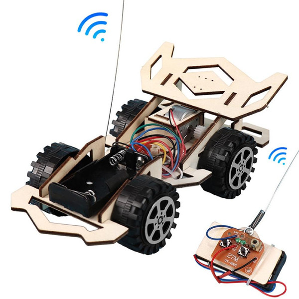 best selling Kid Wooden DIY Assembly 4-CH Electric RC Racing Car Model Science Experiment Toy Interesting DIY Assembly RC Car Model gifts